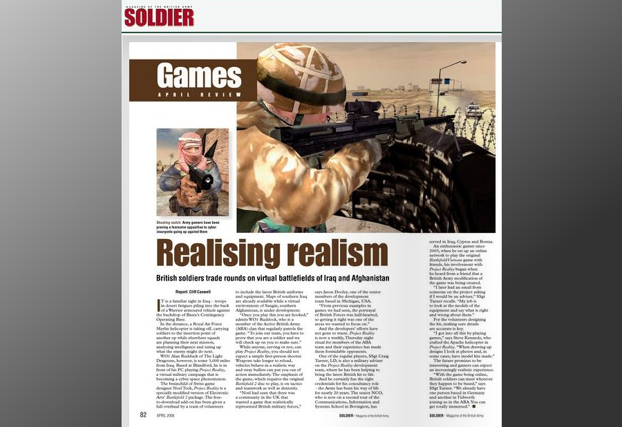 Project Reality article in Soldier Magazine, April 2008